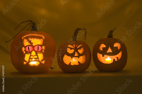 three jack-o-lanterns