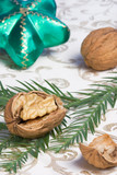 walnuts and christmas ornaments poster