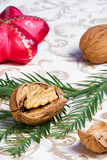 christmas ornaments, walnuts and fir poster