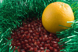 red pomegranate with a yellow orange poster