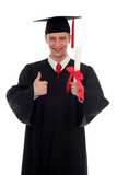 male student graduating poster