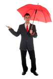 businessman checking for rain poster