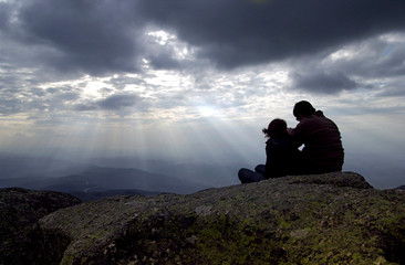 couple on top of montain