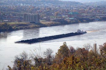 coal barge on the river