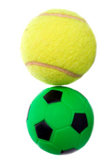 tennis and green football