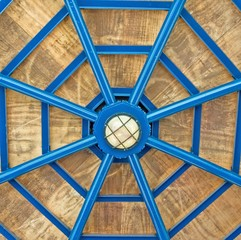 architectural abstract-metal wooden gazebo roof
