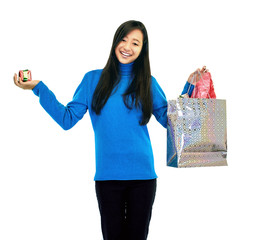girl with present and gift bag