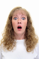 woman with a shocked look
