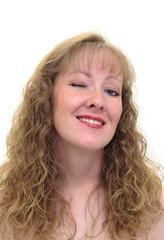 attractive caucasian woman winking