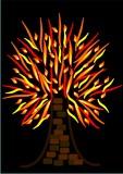 flaming tree or burning tree poster