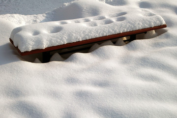 bench under snow by winter