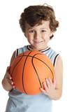 adorable boy playing the basketball poster