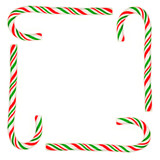 christmas frame made from candy canes poster
