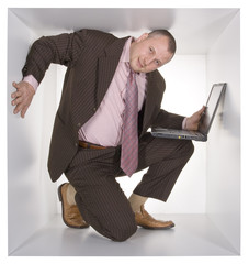 businessman in the cube