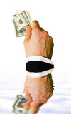 sinking hand with money isolated on white backgrou poster
