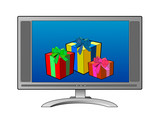 computer monitor with gifts poster
