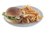 french fries and hamburger poster