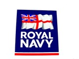 royal navy sign with the flag of united kingdom poster