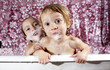 bath time is fun! - two young children playing in