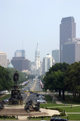 skyline from art museum steps - philadelphia, pa