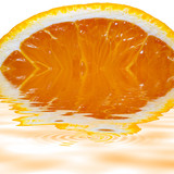 sliced orange isolated on white background