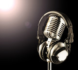 Fototapety mic&headphones in spotlight
