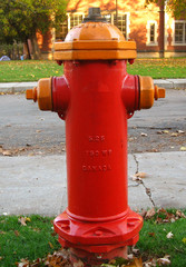 red and orange fire hydrant
