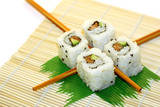 roll sushi structured over white poster