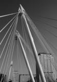 hungerford bridge across river thames london engla poster