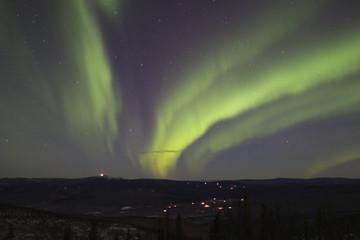 aurora borealis in cold night of alaska