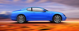 3d rendered sports car moving fast poster