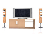 home theatre system on white poster