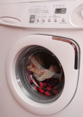 working washing machine with clothing