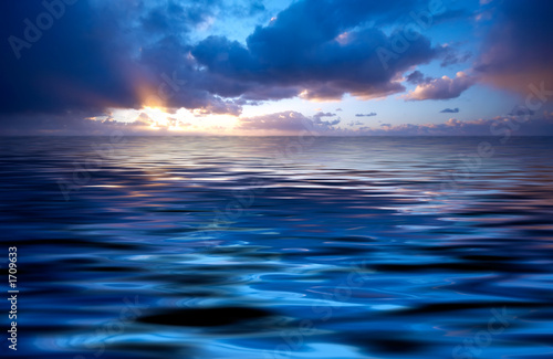 canvas print picture abstract ocean and sunset