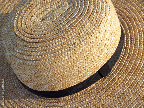 amish straw hat detail from top- pennsylvania