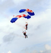 paratroopers descending in a military skydiving pa