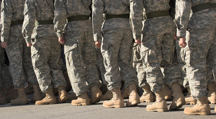soldiers marching in formation