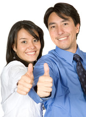 business partners with thumbs up