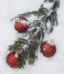 christmas tree branch with decorations covered with snow