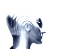 tête de femme robot futuriste poster