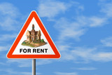 triangle sign with house (for rent) poster