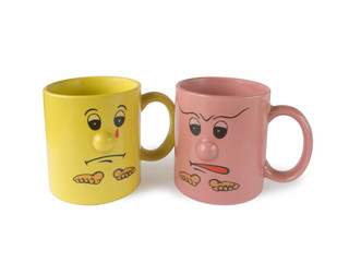 conflict (two cups with faces)