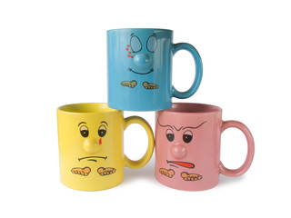 cups with faces (emotion)