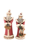 two santa figures isolated poster