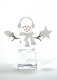 christmas; season; decoration; snowman; ice; cube; poster