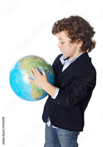 adorable boy worried about the planet earth