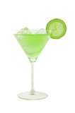green cocktail with slice of lime and ice cubes poster