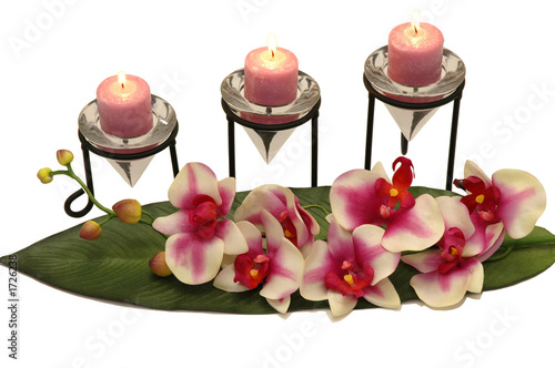 canvas print picture orchid and candles