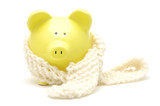 yellow piggy bank with neckerchief poster