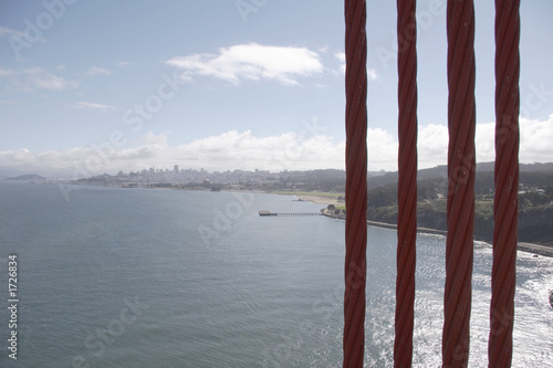 Leinwanddruck Bild seile der golden gate bridge